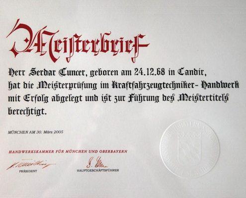 Meisterbrief Herr Tuncer